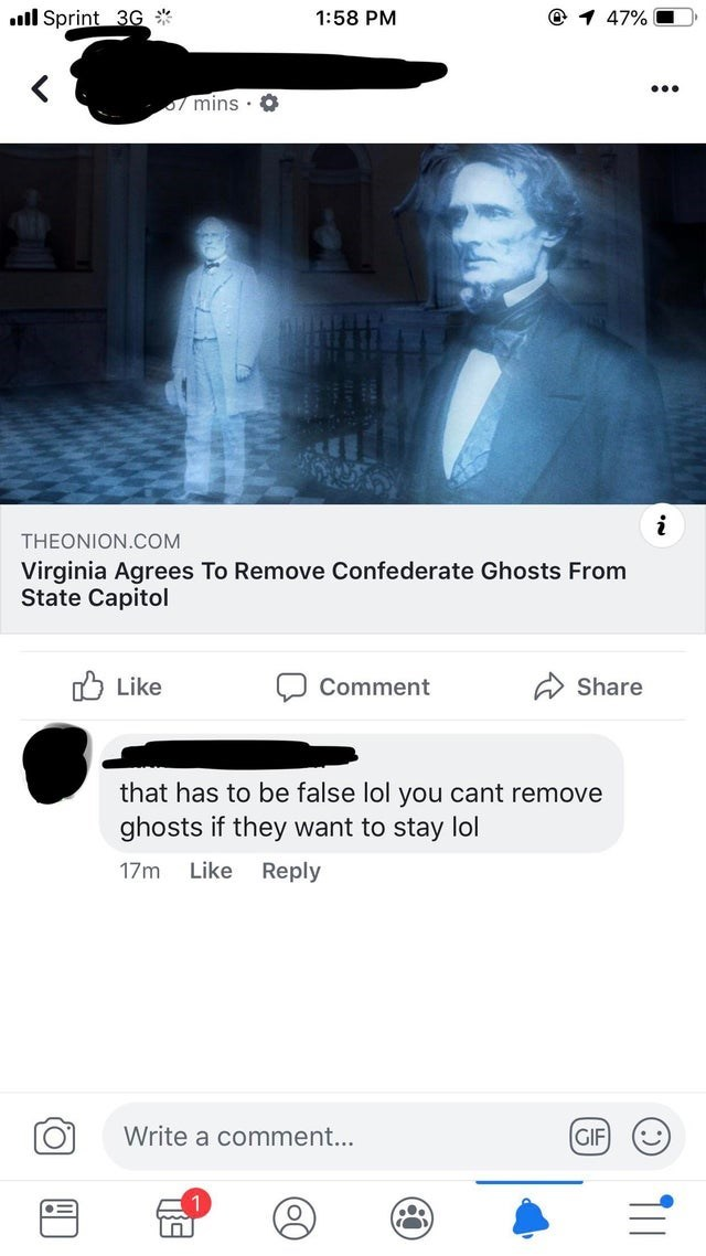 Text - ll Sprint 3G 1:58 PM 47% mins O THEONION.COM Virginia Agrees To Remove Confederate Ghosts From State Capitol Like Comment Share that has to be false lol you cant remove ghosts if they want to stay lol Like Reply 17m Write a comment... GIF T11