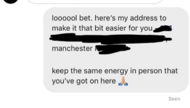Text - loooool bet. here's my address to make it that bit easier for you manchester keep the same energy in person that you've got on here Seen