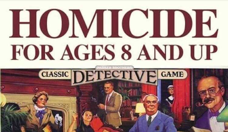 Font - НОМICIDE FOR AGES 8 AND UP SPARKER BROTHERS DETECTIVE CLASSIC GAME