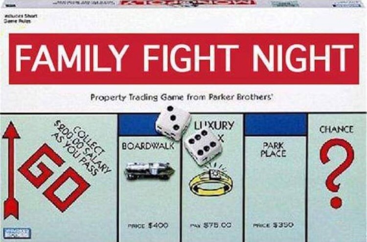 Games - FAMILY FIGHT NIGHT CHANCE Property Trading Game from Parker Brothers ? UIXURY PARK PLACE COLLECT $200 00 SALARY AS YOU PASS BOARDWALK GO PRICE $350 PAX $75 00 PRICE $400
