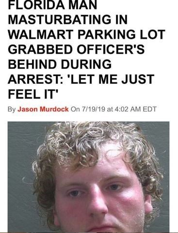 Hair - FLORIDA MAN MASTURBATING IN WALMART PARKING LOT GRABBED OFFICER'S BEHIND DURING ARREST: 'LET ME JUST FEEL IT By Jason Murdock On 7/19/19 at 4:02 AM EDT