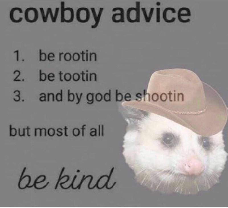 Photo caption - cowboy advice 1.be rootin 2 be tootin 3. and by god be shootin but most of all be kind