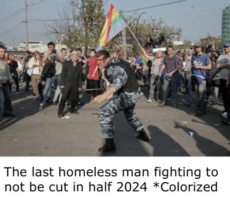 People - The last homeless man fighting to not be cut in half 2024 *Colorized