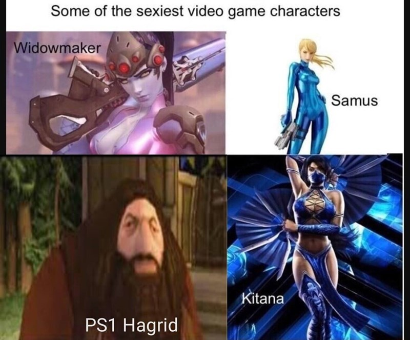 "Meme - ""Some of the sexiest video game characters Widowmaker Samus Kitana PS1 Hagrid"""