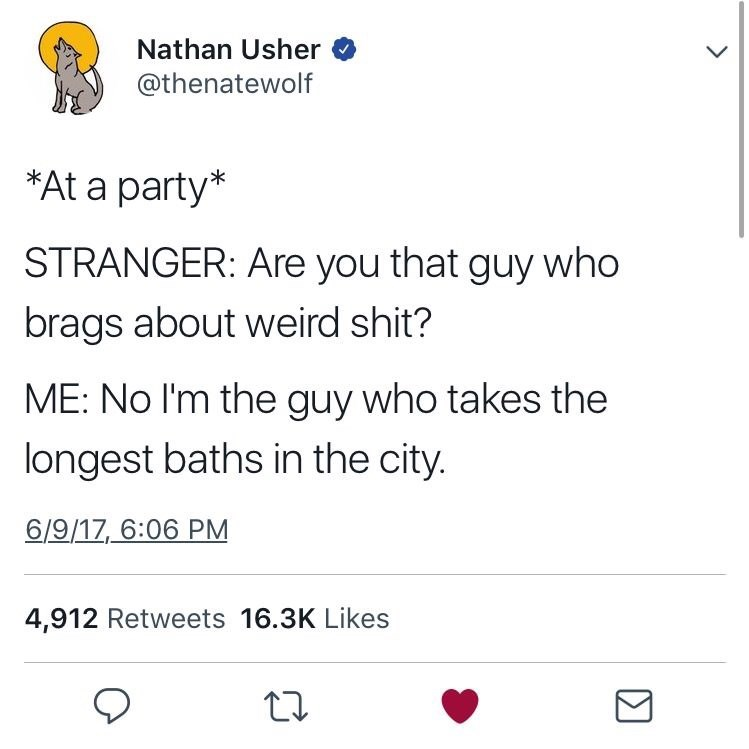 Text - Nathan Usher @thenatewolf *At a party* STRANGER: Are you that guy who brags about weird shit? ME: No I'm the guy who takes the longest baths in the city. 6/9/17, 6:06 PM 4,912 Retweets 16.3K Likes
