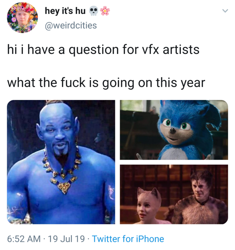 "Meme - ""Hi i have a question for vfx artists what the fuck is going on this year"""