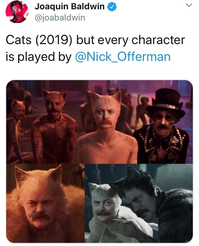 Text - Joaquin Baldwin @joabaldwin Cats (2019) but every character is played by @Nick_Offerman