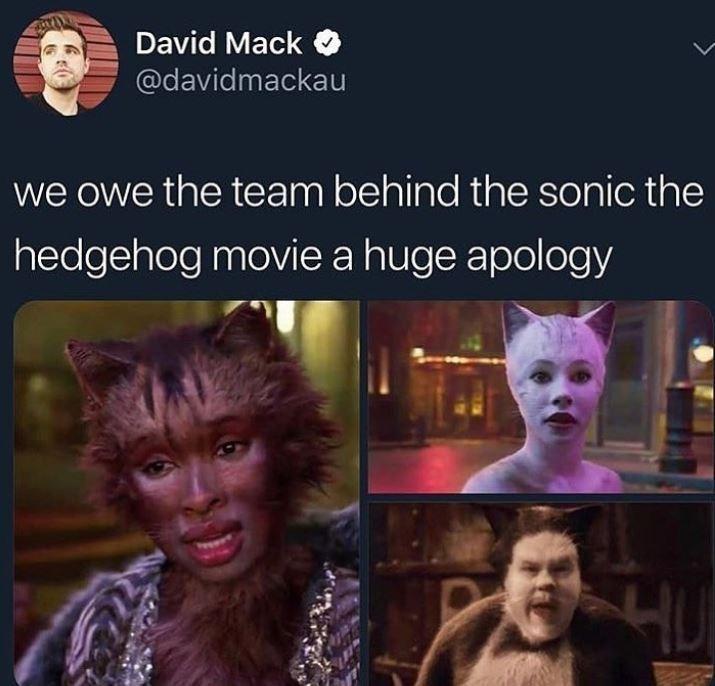 Text - David Mack @davidmackau we owe the team behind the sonic the hedgehog movie a huge apology HU