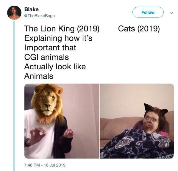 Text - Blake Follow @TheBlakeBagu Cats (2019) The Lion King (2019) Explaining how it's Important that CGI animals Actually look like Animals 7:48 PM 18 Jul 2019