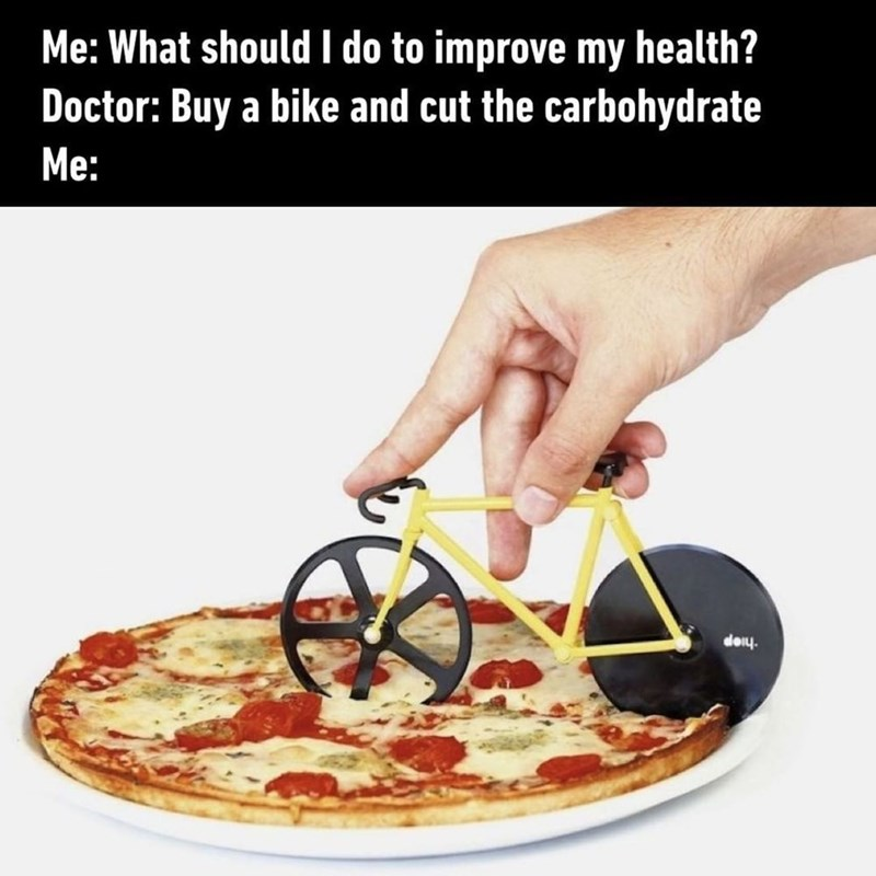 Funny meme about cutting out carbohydrates and exercising more to get healthier