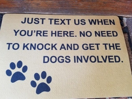 Text - JUST TEXT US WHEN YOU'RE HERE. NO NEED TO KNOCK AND GET THE DOGS INVOLVED.