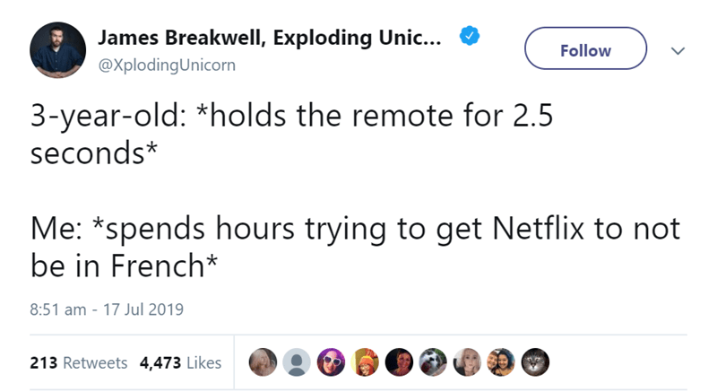 Text - James Breakwell, Exploding Unic... Follow @XplodingUnicorn 3-year-old: *holds the remote for 2.5 seconds* Me: *spends hours trying to get Netflix to not be in French* 8:51 am - 17 Jul 2019 213 Retweets 4,473 Likes
