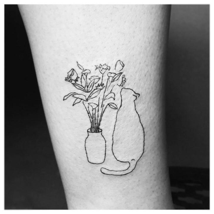 cat tattoo - White