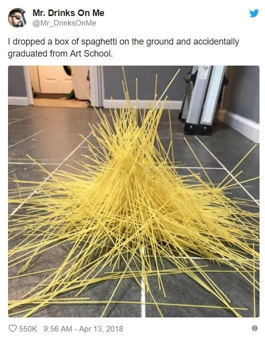 Yellow - Mr. Drinks On Me @Mr_DrinksOnMe I dropped a box of spaghetti on the ground and accidentally graduated from Art School. 550K 9:56 AM - Apr 13, 2018