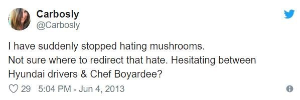 Text - Carbosly @Carbosly I have suddenly stopped hating mushrooms. Not sure where to redirect that hate. Hesitating between Hyundai drivers & Chef Boyardee? 29 5:04 PM - Jun 4, 2013
