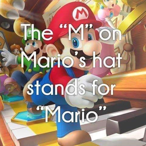 Animated cartoon - The Mon Mario's hat stands for Mario
