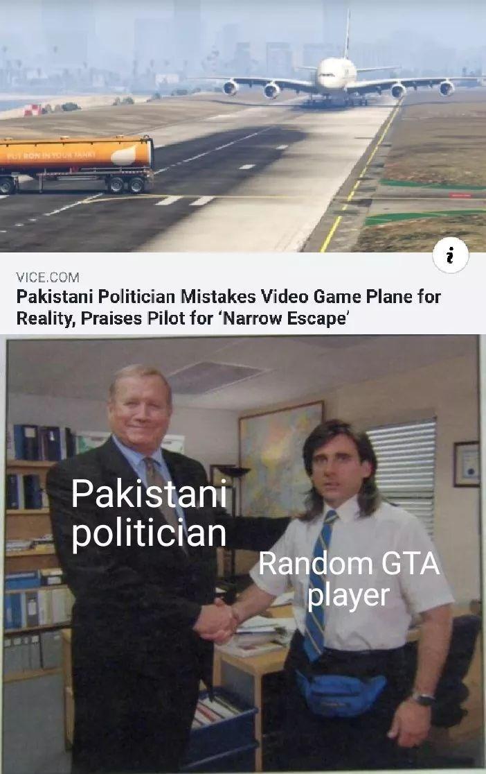 Transport - ANRY RONIN i VICE.COM Pakistani Politician Mistakes Video Game Plane for Reality, Praises Pilot for 'Narrow Escape' Pakistani politician Random GTA player