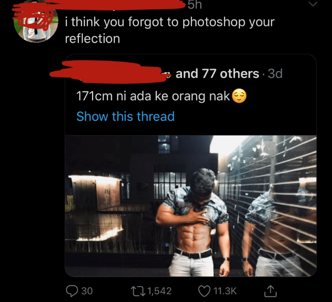 5h i think you forgot to photoshop your reflection and 77 others 3d 171cm ni ada ke orang nak Show this thread t1,542 30 11.3K