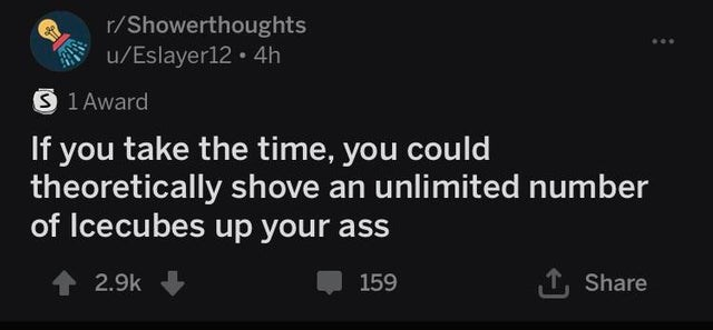 Text - r/Showerthoughts u/Eslayer12 4h S 1Award If you take the time, you could theoretically shove an unlimited number of Icecubes up your ass 2.9k Share 159