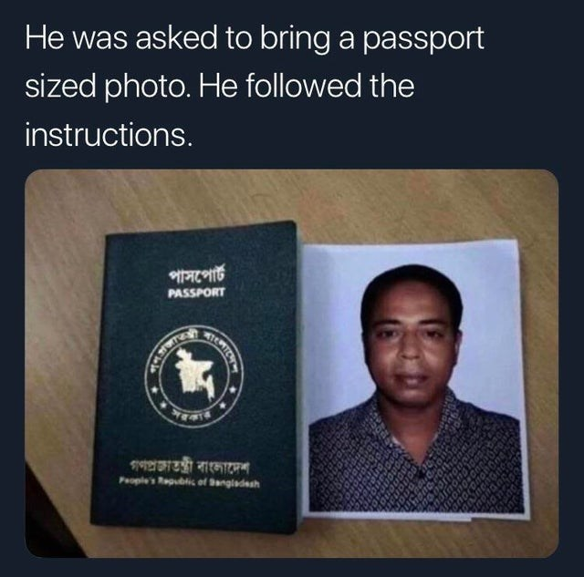 Identity document - He was asked to bring a passport sized photo. He followed the instructions. MIR TEW PASSPORT Pople's bicof angladesh