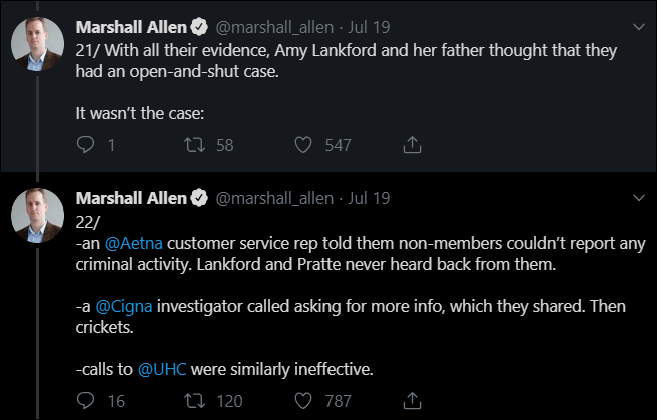 Text - Marshall Allen @marshall_allen Jul 19 21/With all their evidence, Amy Lankford and her father thought that they had an open-and-shut case. It wasn't the case: 2 1 ti 58 547 @marshall_allen - Jul 19 Marshall Allen 22/ an @Aetna customer service rep told them non-members couldn't report any criminal activity. Lankford and Pratte never heard back from them. -a @Cigna investigator called asking for more info, which they shared. Then crickets. -calls to @UHC were similarly ineffective. 16 O787