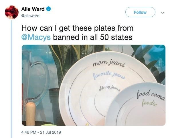 """Tweet - """"How can I get these plates from @Macys banned in all 50 states"""""""