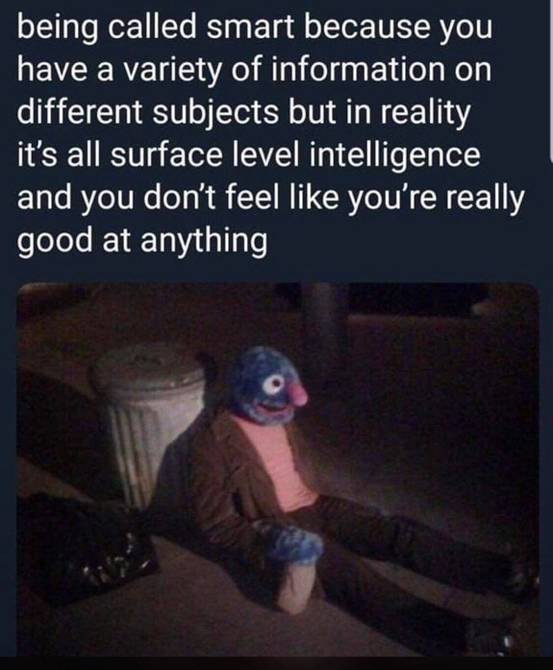 Text - being called smart because you have a variety of information on different subjects but in reality it's all surface level intelligence and you don't feel like you're really good at anything