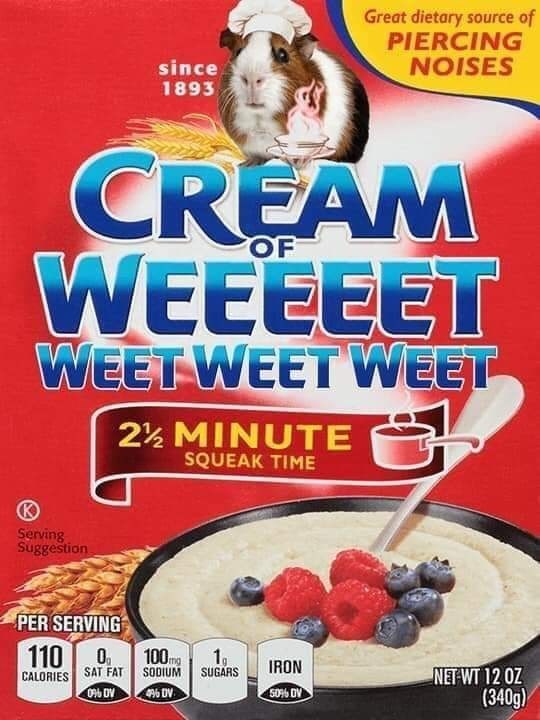 Breakfast cereal - Great dietary source of PIERCING NOISES since 1893 CREAM OF WEEEEET WEET WEET WEET 2½ MINUTE SQUEAK TIME Serving Suggestion PER SERVING 110 0 100mg CALORIES SAT FAT SODIUM SUGARS Plh DV 1 IRON NET WT 12 0Z (340g 50% DV