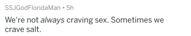 man fact - Text - SSJGodFloridaMan 5h We're not always craving sex. Sometimes we crave salt.
