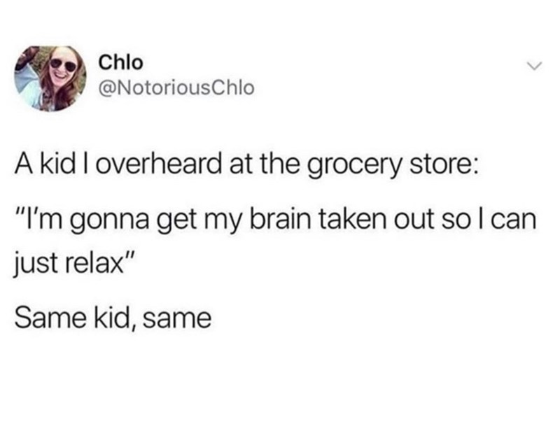 "Text - Chlo @NotoriousChlo A kid I overheard at the grocery store: ""I'm gonna get my brain taken out soI can just relax"" Same kid, same"