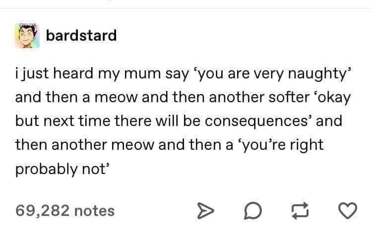 Text - bardstard i just heard my mum say 'you are very naughty and then a meow and then another softer 'okay but next time there will be consequences' and then another meow and then a 'you're right probably not 69,282 notes