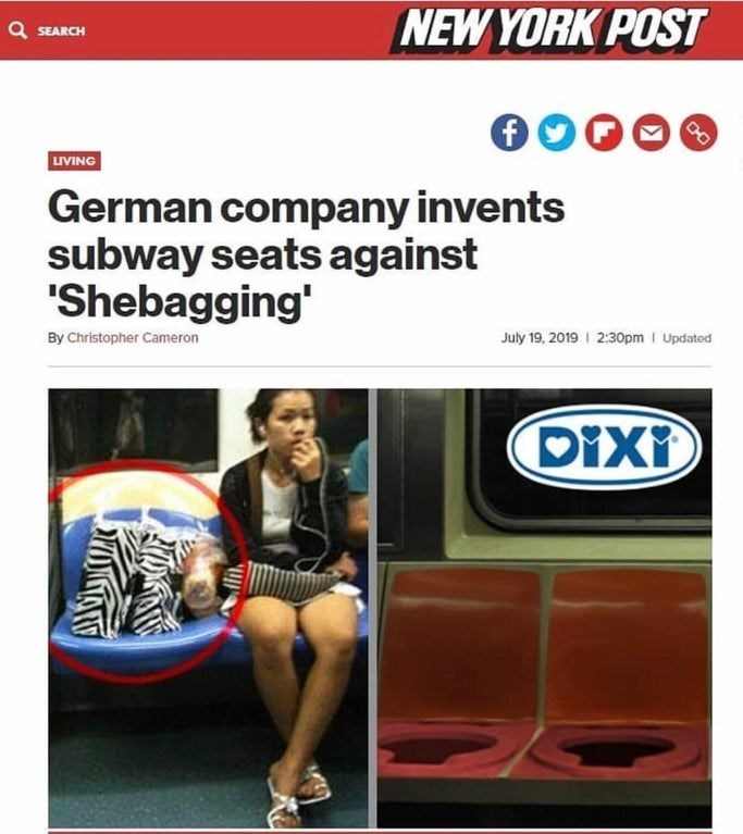 Leg - NEW YORK POST Q SEARCH LIVING German company invents subway seats against 'Shebagging' July 19, 2019 2:30pm Updated By Christopher Cameron Dixi CHO