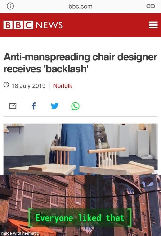 Font - bbc.com BBCNEWS Anti-manspreading chair designer receives 'backlash' O 18 July 2019 Norfolk f Everyone liked that made with mematic II