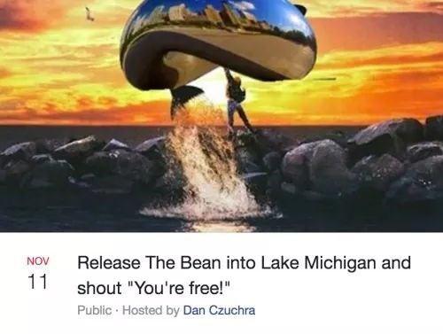 """Mode of transport - Release The Bean into Lake Michigan and NOV 11 shout """"You're free!"""" Public Hosted by Dan Czuchra"""