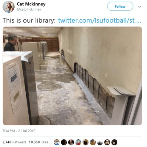 Twitter - Product - Cat Mckinney Follow @catcmckinney This is our library: twitter.com/lsufootball/st... 7:34 PM-21 Jul 2019 2,740 Retweets 10,350 Likes