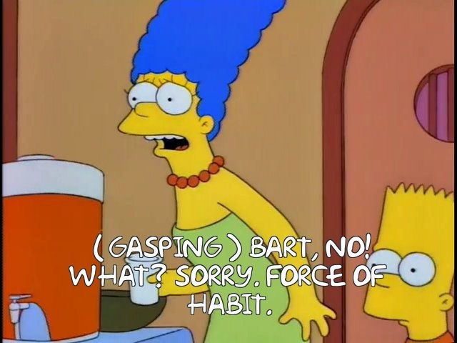 Cartoon - (GASPING) BART, NO! WHAT? SORRy. FORCE OE HABIT