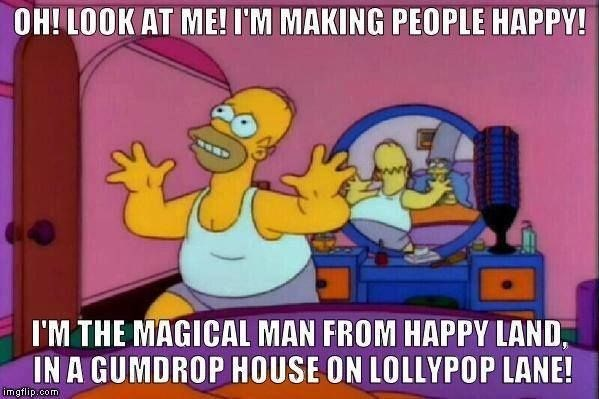 Animated cartoon - OH! LOOK AT ME! I'M MAKING PEOPLE HAPPY! I'M THE MAGICAL MAN FROM HAPPY LAND IN A GUMDROPHOUSE ON LOLLYPOP LANE! imgflip.com