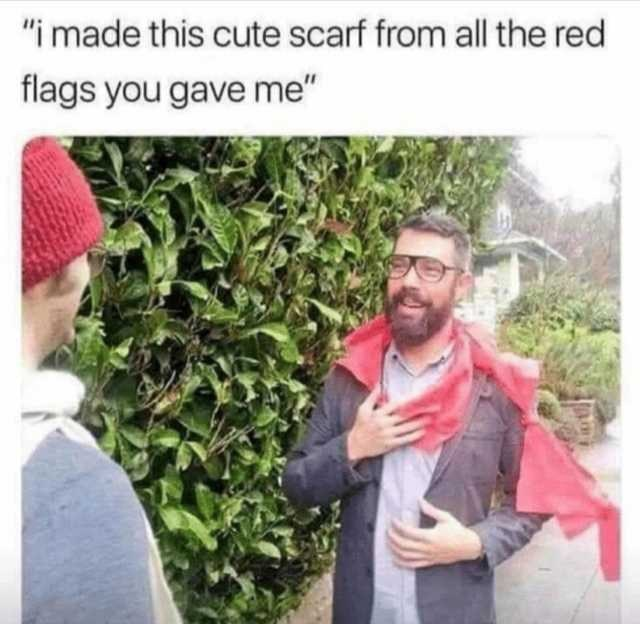 "Meme - ""i made this cute scarf from all the red flags you gave me"""