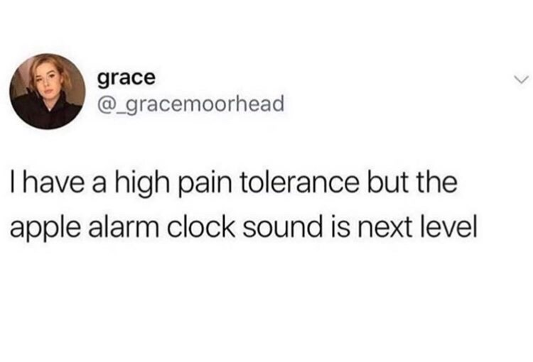 Text - grace @gracemoorhead I have a high pain tolerance but the apple alarm clock sound is next level