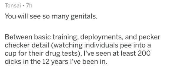 Military - Text - Tonsai 7h You will see so many genitals. Between basic training, deployments, and pecker checker detail (watching individuals pee into a cup for their drug tests), I've seen at least 200 dicks in the 12 years I've been in.