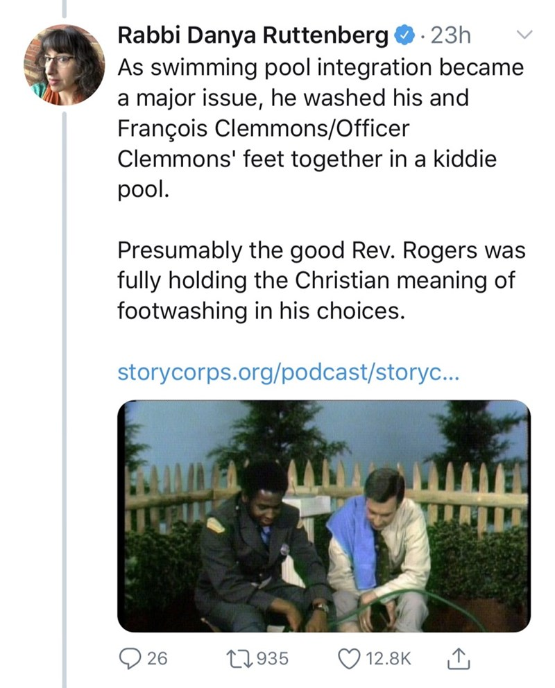 """Tweet - """"As swimming pool integration became a major issue, he washed his and François Clemmons/Officer Clemmons' feet together in a kiddie pool. Presumably the good Rev. Rogers was fully holding the Christian meaning of footwashing in his choices."""""""