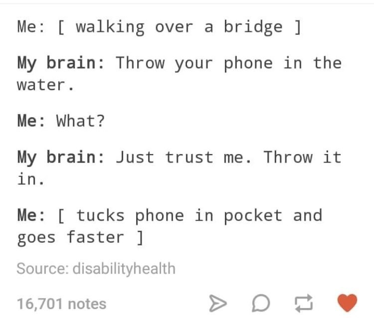 """Tumblr - """"Me: [walking over a bridge My brain: Throw your phone in the water. Me: What? My brain Just trust me. Throw it in. Me: [ tucks phone in pocket and goes faster ]"""""""