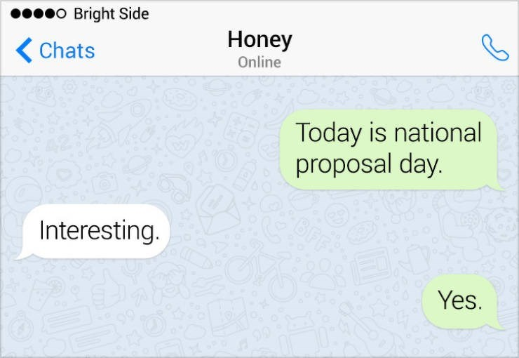 Text - o Bright Side Honey Chats Online Today is national proposal day. Interesting. Yes.
