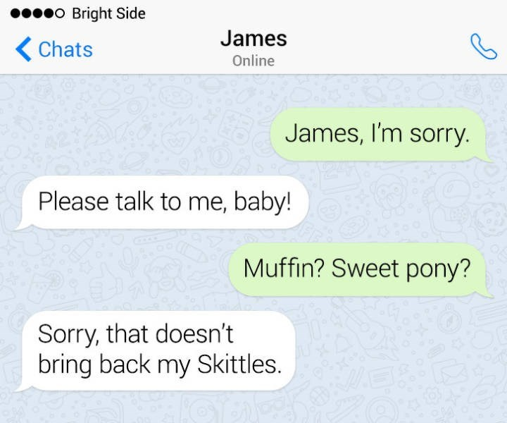 Text - eo Bright Side James Chats Online James, I'm sorry. Please talk to me, baby! Muffin? Sweet pony? Sorry, that doesn't bring back my Skittles.