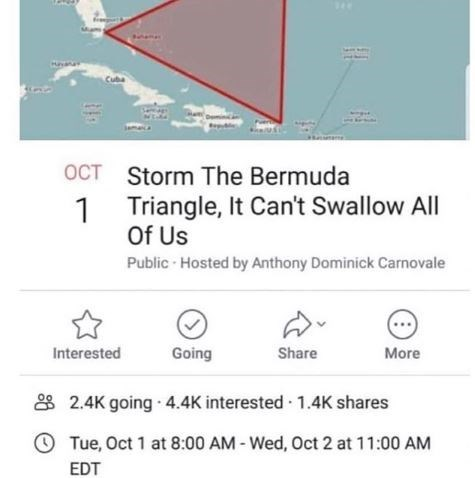 "Meme - ""Storm The Bermuda OCT Triangle, It Can't Swallow All 1 Of Us"""