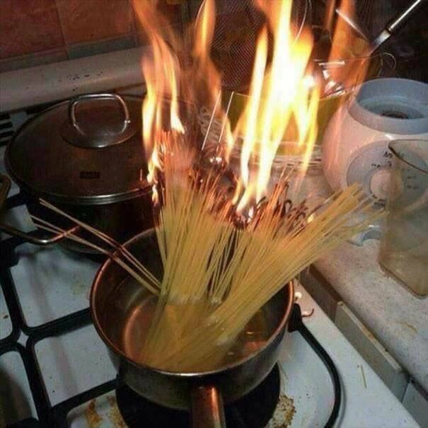 Funny picture of someone who accidentally set pasta on fire in a pot