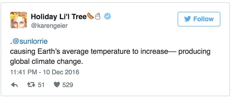 "Tweet - ""causing Earth's average temperature to increase- producing global climate change."""