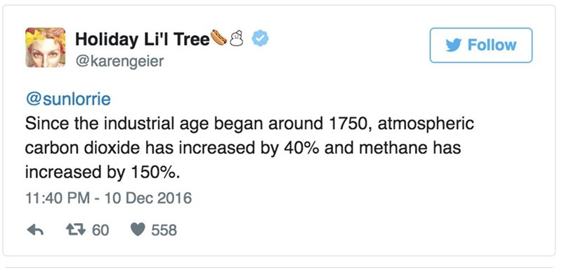 Text - Holiday Li'l Tree @karengeier Follow @sunlorrie Since the industrial age began around 1750, atmospheric carbon dioxide has increased by 40% and methane has increased by 150% 11:40 PM - 10 Dec 2016 60 558