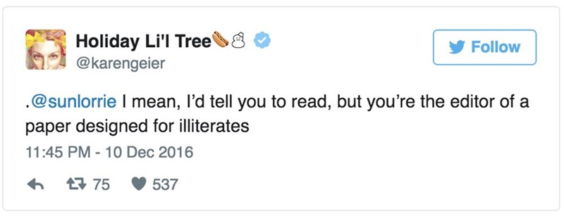 Text - Holiday Li'l Tree @karengeier Follow .@sunlorrie I mean, I'd tell you to read, but you're the editor of a paper designed for illiterates 11:45 PM 10 Dec 2016 75 537
