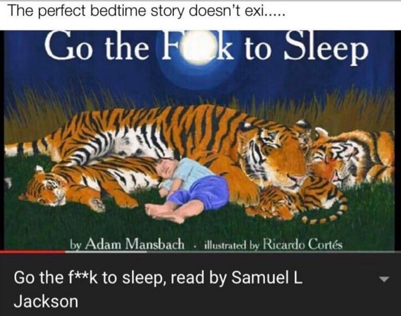 Tiger - The perfect bedtime story doesn't exi... Go the Fok to Sleep NKM by Adam Mansbach illustrated by Ricardo Cortés Go the f**k to sleep, read by Samuel L Jackson